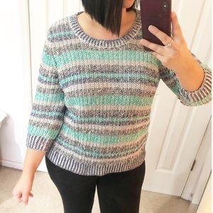 Women's sweater size XL knit stripes multicolor